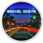 Nighttime Neon In Normal Heights, San Diego, California Round Beach Towel