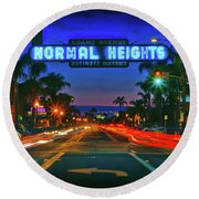 Nighttime Neon In Normal Heights, San Diego, California Round Beach Towel