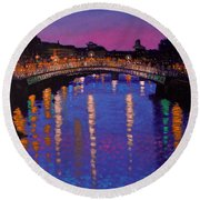 Nighttown Ha Penny Bridge Dublin Round Beach Towel