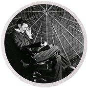 Nikola Tesla And Machine Round Beach Towel