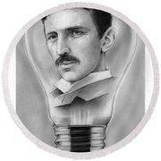 Nikola Tesla Round Beach Towel