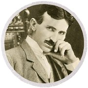Nikola Tesla, Serbian-american Inventor Round Beach Towel