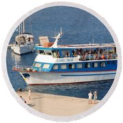Nikos Express Ferry At Halki Round Beach Towel