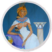 Nile Nymph -- Cleopatra, #1 In Famous Flirts Series Round Beach Towel