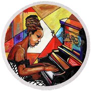 Nina Simone Round Beach Towel by Everett Spruill