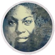 Nina Simone - Here Comes The Sun  Round Beach Towel