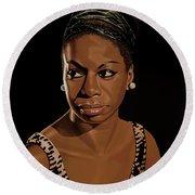 Nina Simone Painting 2 Round Beach Towel