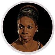 Nina Simone Painting 2 Round Beach Towel by Paul Meijering