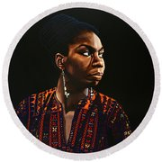 Nina Simone Painting Round Beach Towel