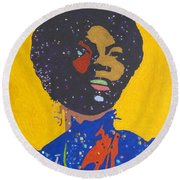 Nina Simone Round Beach Towel by Stormm Bradshaw