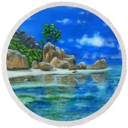 Round Beach Towel featuring the painting Nina's Beach by Amelie Simmons