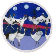 Round Beach Towel featuring the painting Nine Dancing Cranes by Denise Weaver Ross