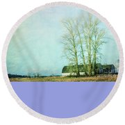 Round Beach Towel featuring the photograph Nisqually Barns by Jean OKeeffe Macro Abundance Art