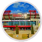 Nissan Stadium Home Of The Tennessee Titans Round Beach Towel