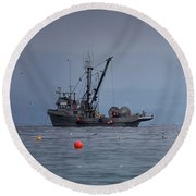 Round Beach Towel featuring the photograph Nita Dawn And Cape George by Randy Hall