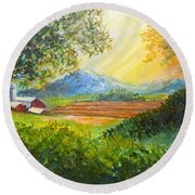 Round Beach Towel featuring the painting Nixon's Majestic Farm View by Lee Nixon