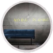 No Ball Playing Round Beach Towel