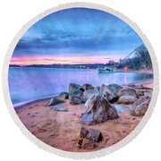 Round Beach Towel featuring the photograph No Escape by Edward Kreis