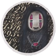 No Face With A Heart Round Beach Towel by Abril Andrade Griffith