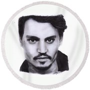 Johnny Depp Drawing By Sofia Furniel Round Beach Towel