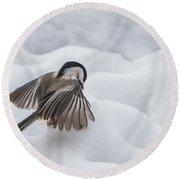 Chickadee - Wings At Work Round Beach Towel