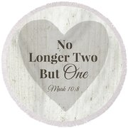 No Longer Two- Art By Linda Woods Round Beach Towel