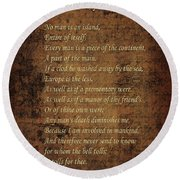 No Man Is An Island Round Beach Towel by Andrew Fare