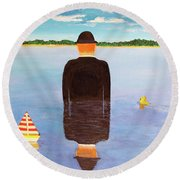 No Man Is An Island Round Beach Towel