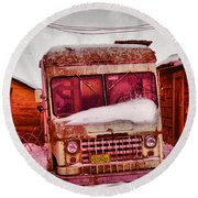 Round Beach Towel featuring the photograph No More Deliveries by Jeff Swan