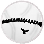 Round Beach Towel featuring the photograph No Place To Land by AJ Schibig