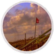 Round Beach Towel featuring the photograph No Swimming by John Harding