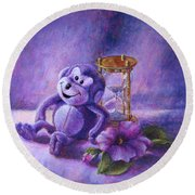 No Time To Monkey Around Round Beach Towel