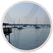 Round Beach Towel featuring the photograph No Wind by Greg Patzer