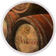 No Wine Before It's Time - Barrels-chateau Meichtry Round Beach Towel