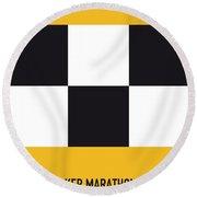 No002 My Taxi Driver Minimal Movie Car Poster Round Beach Towel