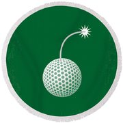 No013 My Caddy Shack Minimal Movie Poster Round Beach Towel