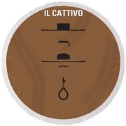 No042 My Il Buono Il Brutto Il Cattivo Minimal Movie Poster Round Beach Towel