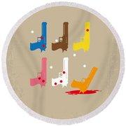 No069 My Reservoir Dogs Minimal Movie Poster Round Beach Towel