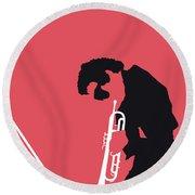 No082 My Miles Davis Minimal Music Poster Round Beach Towel