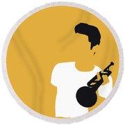 No084 My Chet Baker Minimal Music Poster Round Beach Towel