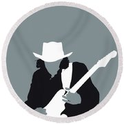 No087 My Stevie Ray Vaughan Minimal Music Poster Round Beach Towel