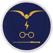 No101 My Harry Potter Minimal Movie Poster Round Beach Towel by Chungkong Art