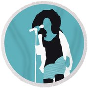 No155 My Chaka Khan Minimal Music Poster Round Beach Towel