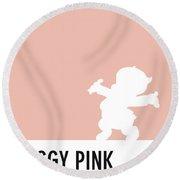 No17 My Minimal Color Code Poster Porky Pig Round Beach Towel