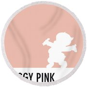 No17 My Minimal Color Code Poster Porky Pig Round Beach Towel