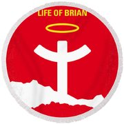 No182 My Monty Python Life Of Brian Minimal Movie Poster Round Beach Towel