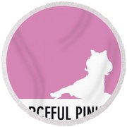 No26 My Minimal Color Code Poster Piggy  Round Beach Towel