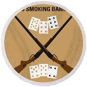 No441 My Lock Stock And Two Smoking Barrels Minimal Movie Poster Round Beach Towel