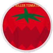 No499 My Attack Of The Killer Tomatoes Minimal Movie Poster Round Beach Towel