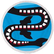 No501 My Snakes On A Plane Minimal Movie Poster Round Beach Towel
